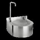 Sanela Nerezová pitná fontánka závěsná stlačnou pitnou armaturou a armaturou pro napouštění sklenic