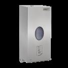 Sanela Automatický nerezový nástěnný dávkovač mýdla a desinfekce, plastová vnitřní nádobka, 0,85 l, matný
