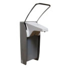 Sanela Nerezový dávkovač dezinfekce - loketní ovládání, plastová vnitřní nádobka, 0,5 l, povrch matný