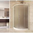 MSO Trade Sprchový set: kout čtvrtkruh, 90x90x185 cm, R550, bílý ALU, sklo Chinchilla, odtokový žlab