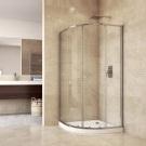 MSO Trade Sprchový set: sprchový kout, čtvrtkruh, 90x185 cm, R550, chrom ALU, sklo Čiré, vanička SMC