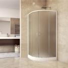 MSO Trade Sprchový set: sprchový kout, čtvrtkruh, 90x185 cm, R550, bílý ALU, sklo Chinchilla, vanička SMC