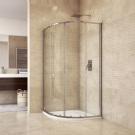 MSO Trade Sprchový set: sprchový kout, čtvrtkruh, 90x185 cm, R550, chrom ALU, sklo Čiré, litá vanička