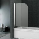 Mereo Vanová zástěna, 75 cm, leštěný hliník, sklo Čiré